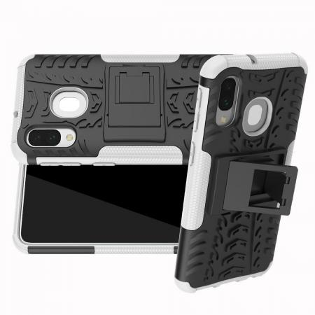 Двухкомпонентный Противоскользящий Гибридный Противоударный Чехол для Samsung Galaxy A40 с Подставкой Белый
