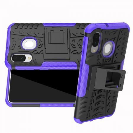 Двухкомпонентный Противоскользящий Гибридный Противоударный Чехол для Samsung Galaxy A40 с Подставкой Фиолетовый
