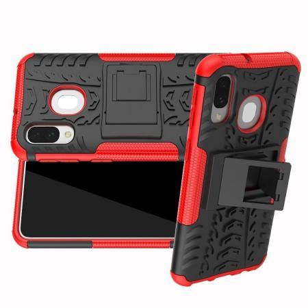 Двухкомпонентный Противоскользящий Гибридный Противоударный Чехол для Samsung Galaxy A40 с Подставкой Красный