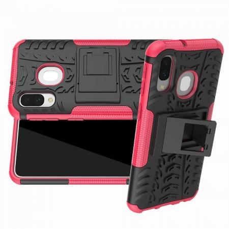 Двухкомпонентный Противоскользящий Гибридный Противоударный Чехол для Samsung Galaxy A40 с Подставкой Розовый