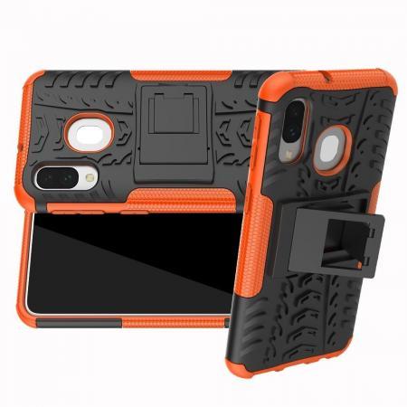 Двухкомпонентный Противоскользящий Гибридный Противоударный Чехол для Samsung Galaxy A40 с Подставкой Оранжевый