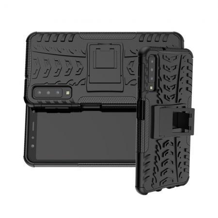 Двухкомпонентный Противоскользящий Гибридный Противоударный Чехол для Samsung Galaxy A7 2018 SM-A750 с Подставкой Черный