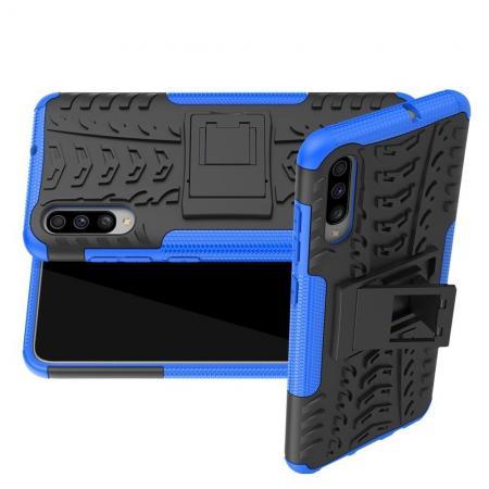 Двухкомпонентный Противоскользящий Гибридный Противоударный Чехол для Samsung Galaxy A70 с Подставкой Синий