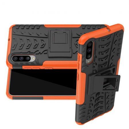 Двухкомпонентный Противоскользящий Гибридный Противоударный Чехол для Samsung Galaxy A70 с Подставкой Оранжевый