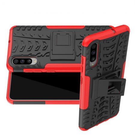 Двухкомпонентный Противоскользящий Гибридный Противоударный Чехол для Samsung Galaxy A70 с Подставкой Красный