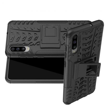 Двухкомпонентный Противоскользящий Гибридный Противоударный Чехол для Samsung Galaxy A70 с Подставкой Черный