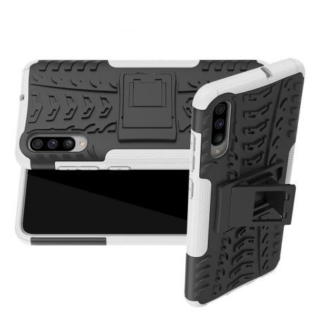 Двухкомпонентный Противоскользящий Гибридный Противоударный Чехол для Samsung Galaxy A70 с Подставкой Белый