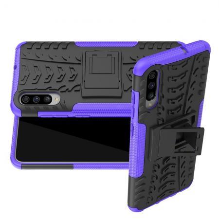 Двухкомпонентный Противоскользящий Гибридный Противоударный Чехол для Samsung Galaxy A70 с Подставкой Фиолетовый