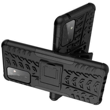 Двухкомпонентный Противоскользящий Гибридный Противоударный Чехол для Samsung Galaxy A72 с Подставкой Черный