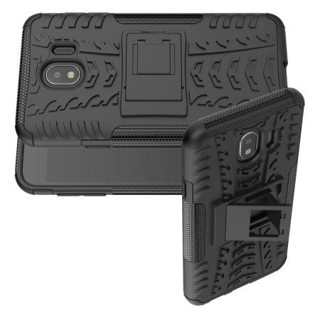 Двухкомпонентный Противоскользящий Гибридный Противоударный Чехол для Samsung Galaxy J4 2018 SM-J400 с Подставкой Черный