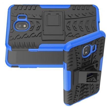 Двухкомпонентный Противоскользящий Гибридный Противоударный Чехол для Samsung Galaxy J4 2018 SM-J400 с Подставкой Синий