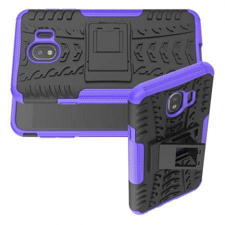 Двухкомпонентный Противоскользящий Гибридный Противоударный Чехол для Samsung Galaxy J4 2018 SM-J400 с Подставкой Фиолетовый