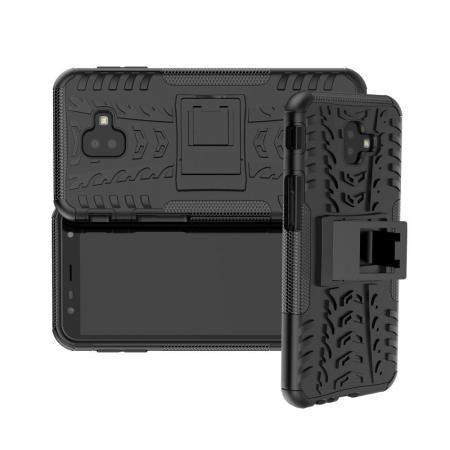 Двухкомпонентный Противоскользящий Гибридный Противоударный Чехол для Samsung Galaxy J6 Plus 2018 SM-J610F с Подставкой Черный