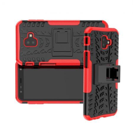 Двухкомпонентный Противоскользящий Гибридный Противоударный Чехол для Samsung Galaxy J6 Plus 2018 SM-J610F с Подставкой Красный