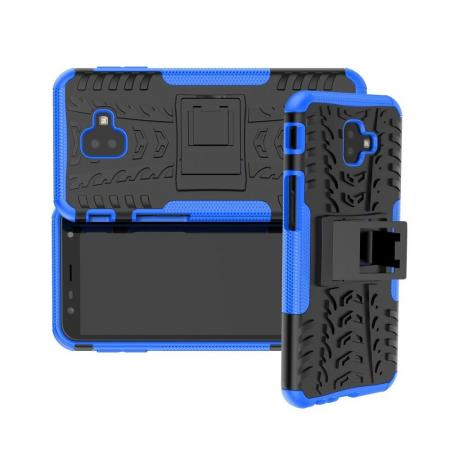 Двухкомпонентный Противоскользящий Гибридный Противоударный Чехол для Samsung Galaxy J6 Plus 2018 SM-J610F с Подставкой Синий
