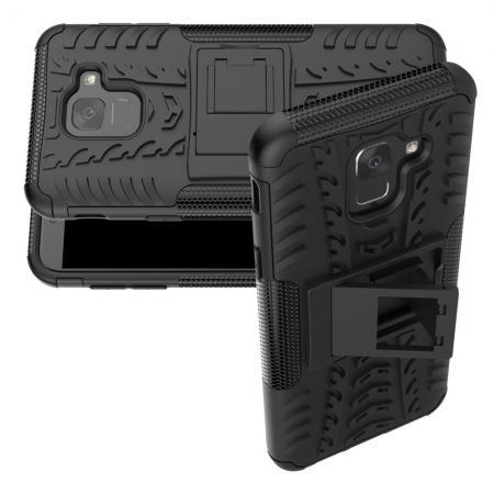 Двухкомпонентный Противоскользящий Гибридный Противоударный Чехол для Samsung Galaxy J6 SM-J600 с Подставкой Черный