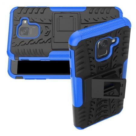 Двухкомпонентный Противоскользящий Гибридный Противоударный Чехол для Samsung Galaxy J6 SM-J600 с Подставкой Синий