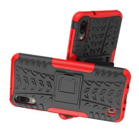 Двухкомпонентный Противоскользящий Гибридный Противоударный Чехол для Samsung Galaxy M10 с Подставкой Красный