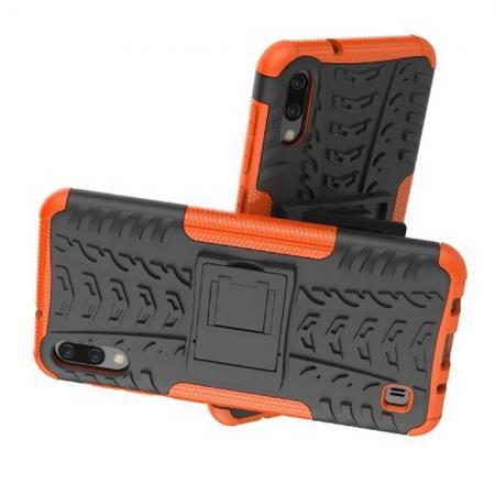 Двухкомпонентный Противоскользящий Гибридный Противоударный Чехол для Samsung Galaxy M10 с Подставкой Оранжевый