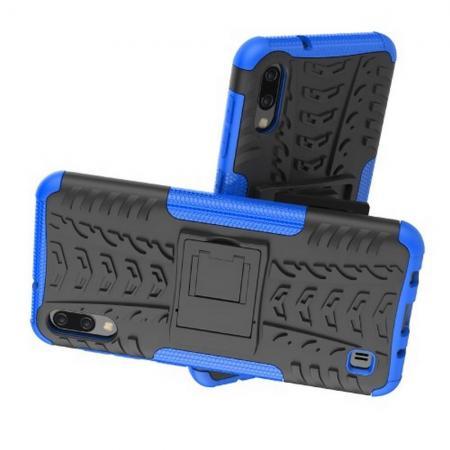 Двухкомпонентный Противоскользящий Гибридный Противоударный Чехол для Samsung Galaxy M10 с Подставкой Синий
