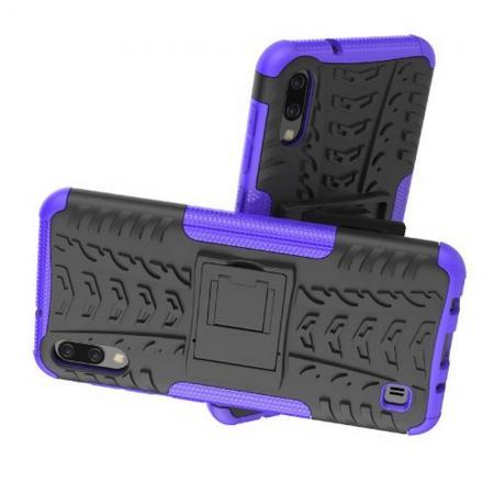 Двухкомпонентный Противоскользящий Гибридный Противоударный Чехол для Samsung Galaxy M10 с Подставкой Фиолетовый