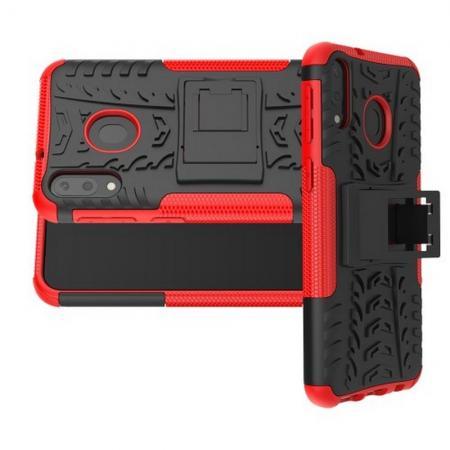 Двухкомпонентный Противоскользящий Гибридный Противоударный Чехол для Samsung Galaxy M20 с Подставкой Красный