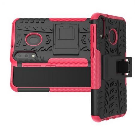 Двухкомпонентный Противоскользящий Гибридный Противоударный Чехол для Samsung Galaxy M20 с Подставкой Розовый