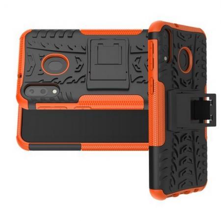 Двухкомпонентный Противоскользящий Гибридный Противоударный Чехол для Samsung Galaxy M20 с Подставкой Оранжевый