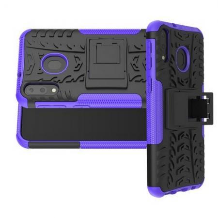 Двухкомпонентный Противоскользящий Гибридный Противоударный Чехол для Samsung Galaxy M20 с Подставкой Фиолетовый