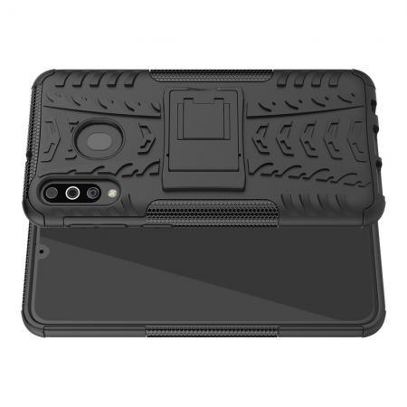 Двухкомпонентный Противоскользящий Гибридный Противоударный Чехол для Samsung Galaxy M30 с Подставкой Черный