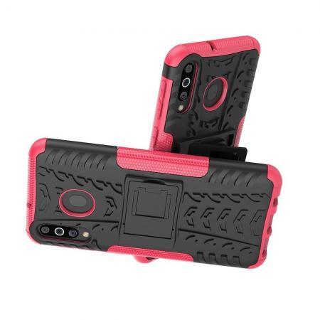 Двухкомпонентный Противоскользящий Гибридный Противоударный Чехол для Samsung Galaxy M30 с Подставкой Розовый