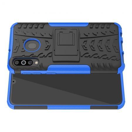 Двухкомпонентный Противоскользящий Гибридный Противоударный Чехол для Samsung Galaxy M30 с Подставкой Синий