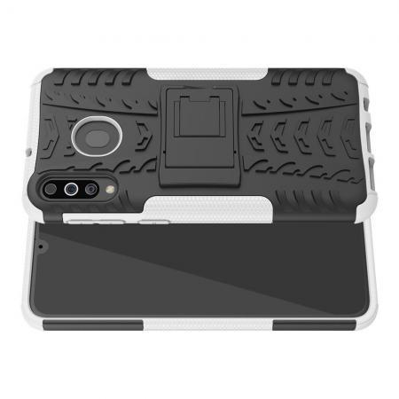 Двухкомпонентный Противоскользящий Гибридный Противоударный Чехол для Samsung Galaxy M30 с Подставкой Белый