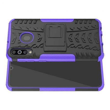 Двухкомпонентный Противоскользящий Гибридный Противоударный Чехол для Samsung Galaxy M30 с Подставкой Фиолетовый