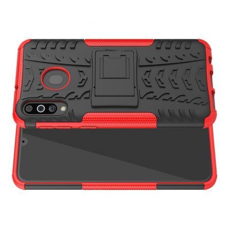 Двухкомпонентный Противоскользящий Гибридный Противоударный Чехол для Samsung Galaxy M30 с Подставкой Красный