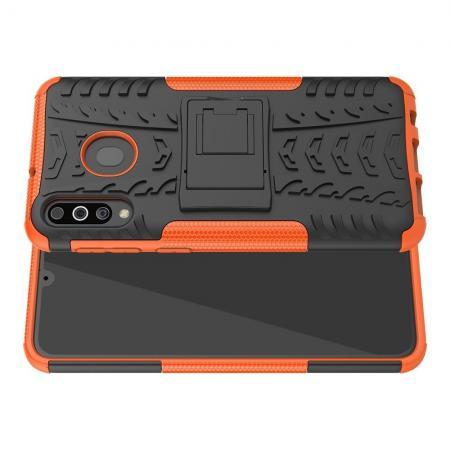 Двухкомпонентный Противоскользящий Гибридный Противоударный Чехол для Samsung Galaxy M30 с Подставкой Оранжевый