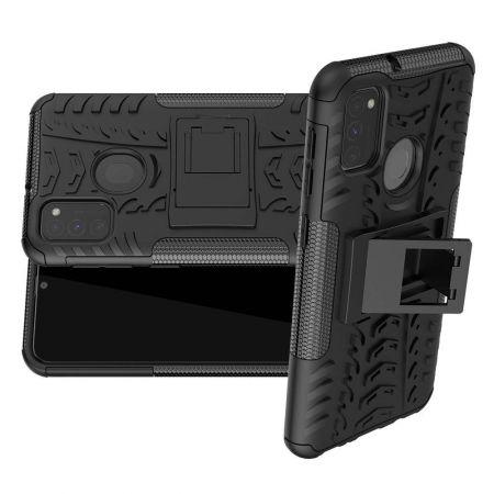 Двухкомпонентный Противоскользящий Гибридный Противоударный Чехол для Samsung Galaxy M30s с Подставкой Черный