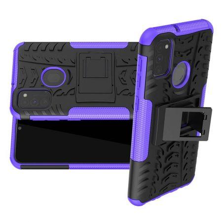 Двухкомпонентный Противоскользящий Гибридный Противоударный Чехол для Samsung Galaxy M30s с Подставкой Фиолетовый