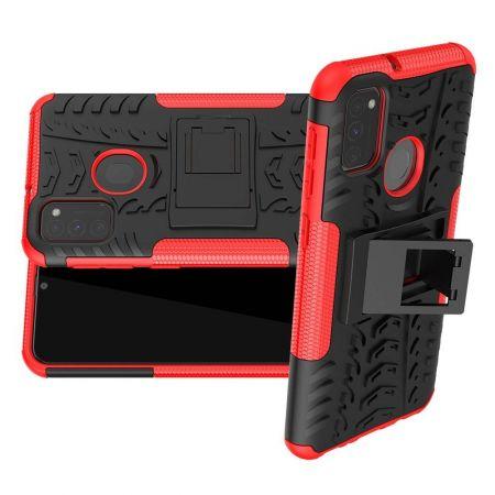 Двухкомпонентный Противоскользящий Гибридный Противоударный Чехол для Samsung Galaxy M30s с Подставкой Красный