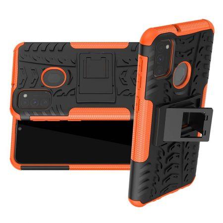 Двухкомпонентный Противоскользящий Гибридный Противоударный Чехол для Samsung Galaxy M30s с Подставкой Оранжевый