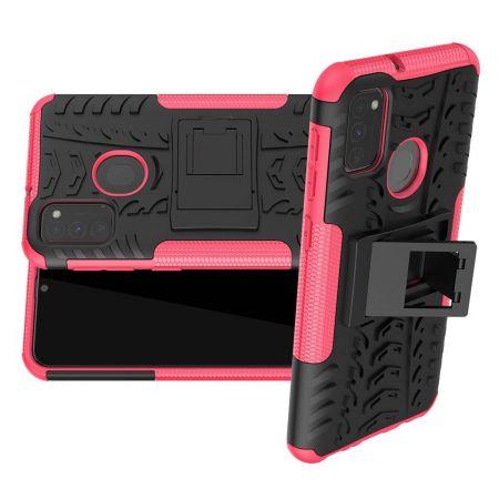 Двухкомпонентный Противоскользящий Гибридный Противоударный Чехол для Samsung Galaxy M30s с Подставкой Розовый