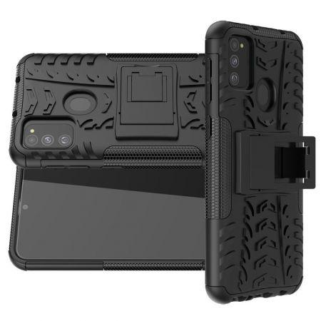 Двухкомпонентный Противоскользящий Гибридный Противоударный Чехол для Samsung Galaxy M31 с Подставкой Черный