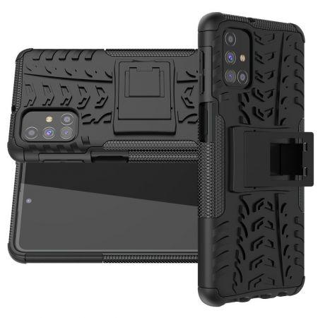 Двухкомпонентный Противоскользящий Гибридный Противоударный Чехол для Samsung Galaxy M31s с Подставкой Черный