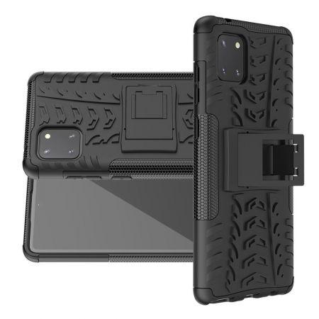 Двухкомпонентный Противоскользящий Гибридный Противоударный Чехол для Samsung Galaxy Note 10 Lite с Подставкой Черный