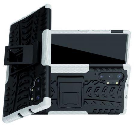 Двухкомпонентный Противоскользящий Гибридный Противоударный Чехол для Samsung Galaxy Note 10 Plus с Подставкой Белый / Черный