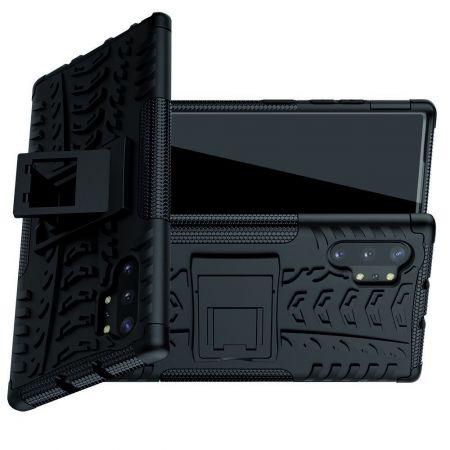 Двухкомпонентный Противоскользящий Гибридный Противоударный Чехол для Samsung Galaxy Note 10 Plus с Подставкой Черный