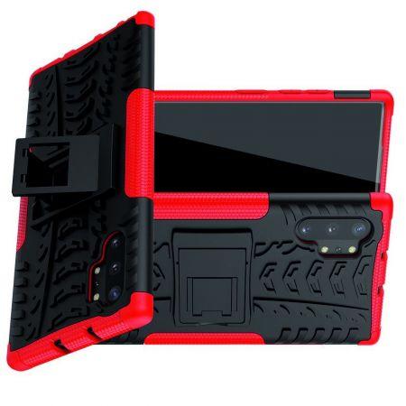Двухкомпонентный Противоскользящий Гибридный Противоударный Чехол для Samsung Galaxy Note 10 Plus с Подставкой Красный / Черный