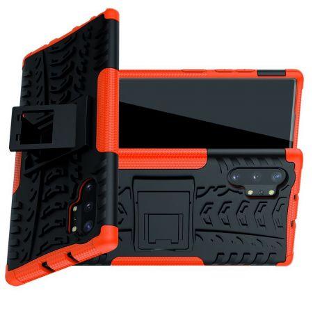 Двухкомпонентный Противоскользящий Гибридный Противоударный Чехол для Samsung Galaxy Note 10 Plus с Подставкой Оранжевый / Черный
