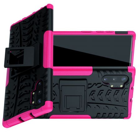 Двухкомпонентный Противоскользящий Гибридный Противоударный Чехол для Samsung Galaxy Note 10 Plus с Подставкой Розовый / Черный