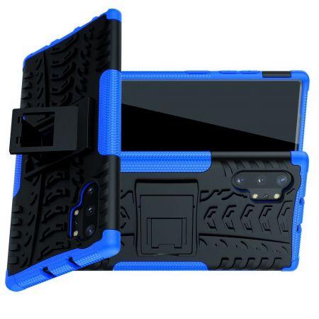 Двухкомпонентный Противоскользящий Гибридный Противоударный Чехол для Samsung Galaxy Note 10 Plus с Подставкой Синий / Черный